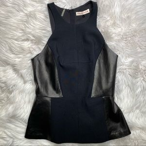 Rebecca Taylor Black Leather Peplum Top Size 2